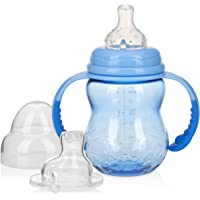 Nuby 3 Stage Tritan Wide Neck Grow with Me No-Spill Bottle to Cup, 8 Oz, Blue