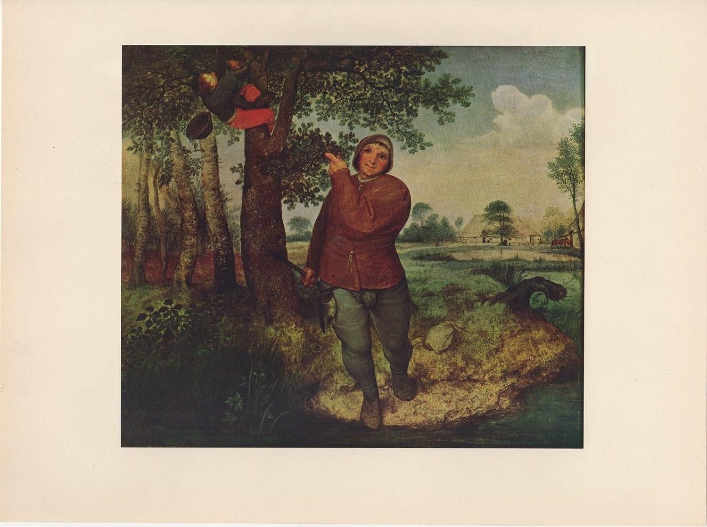 "1954 Vintage Full Color Art Plate /""THE BIRD/'S NEST/"" Bruegel Lithograph Litho"