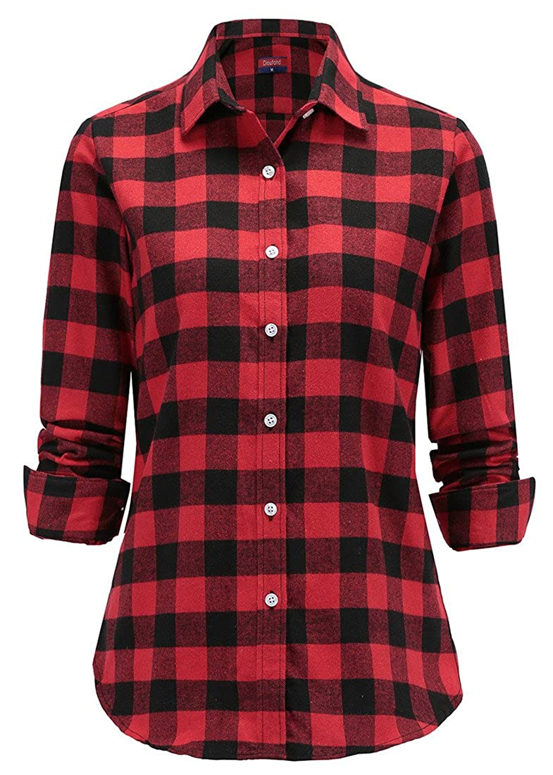 Dioufond Women's Flannel Classic Plaid Check Shirt Long Sleeve Collared Button Down Blouse Tops