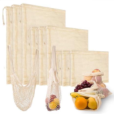 10 Piezas Bolsa Reutilizable Algodon,9 Bolsas de Comida para Fruta Reutilizables para Productos Frescos, Frutas y Verduras(3*S/3*M/3*L),1 Bolsa de ...