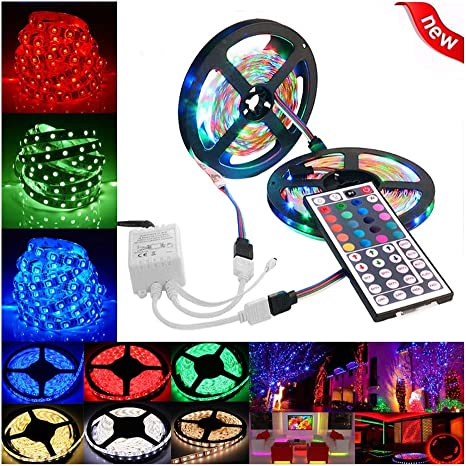 5M 3528 SMD 300 LED cadena luz impermeable de tira del RGB con control remoto