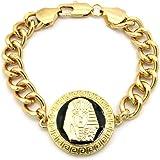 Bracelet pour homme de ton or à breloque égyptienne, avec pierres de Strass, chaîne à maillons L.22,2 cm