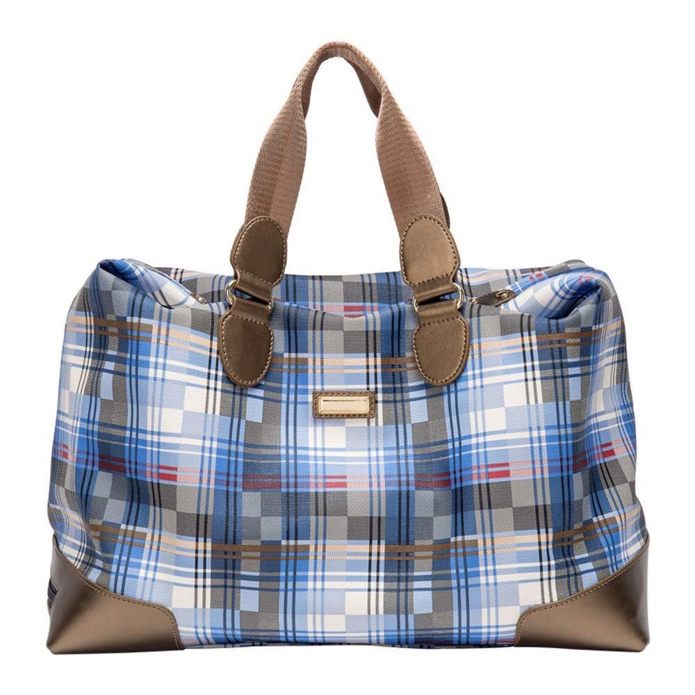 Disc Golf Bag Blue Plaid Golf Clothing Bag One-piece Clothing Bag Shoe Bag Large-capacity Travel Handbag Fitness Swimming Toe For Women Men High capacity ( Color : Blue , Size : 433226cm )