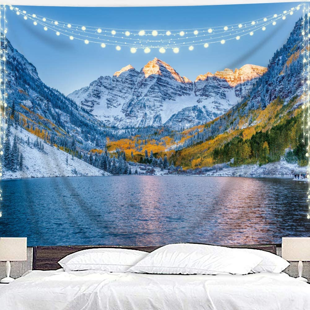 Homewelle Snow Mountain Tapestry Colorado Lake Landscape Natural Nature 51Hx59W Inch Rocky Nordic Ski Winter Peaks National Snow Park Scenery Art Wall Hanging Bedroom Living Room Dorm Decor Fabric