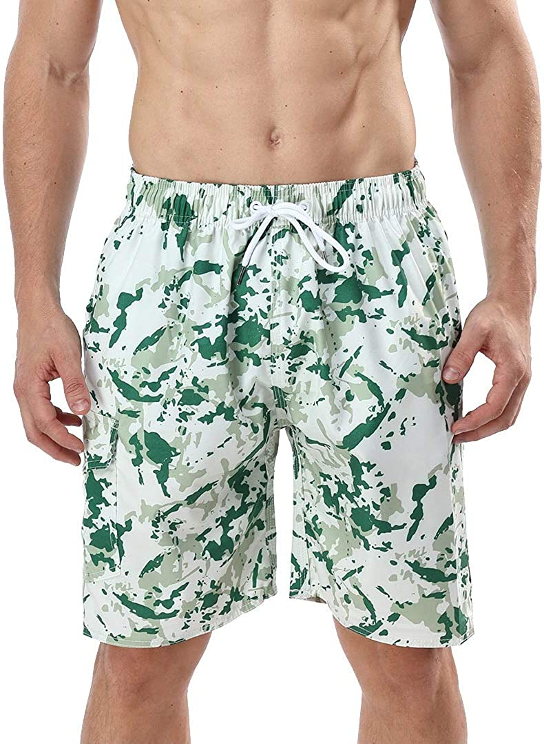 MILANKERR Mens Swim Trunks Waterproof Quick Dry Beach Shorts Pockets Blue Camo