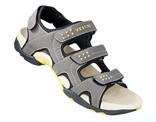 a6b9b3ef3260 Vestire Men s Grey Synthetic Leather Sandal (OS-4539-GY-G10) - 10 UK  Buy  Online at Low Prices in India - Amazon.in