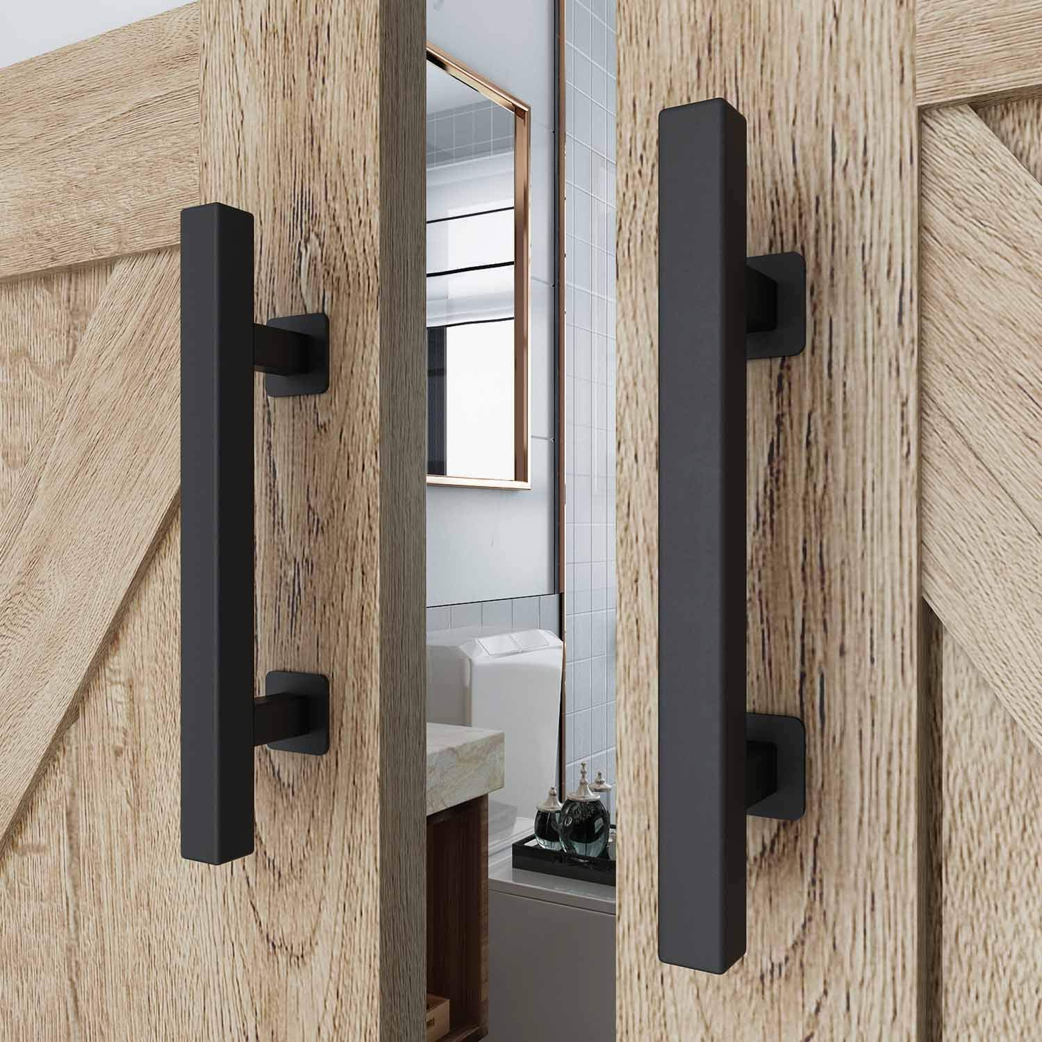 EaseLife 2Pcs 12'' Sliding Barn Door Handle with Pull Flush Set,for Gate Kitchen Furniture Cabinet Closet 2/Pack,Square by EaseLife (Image #2)