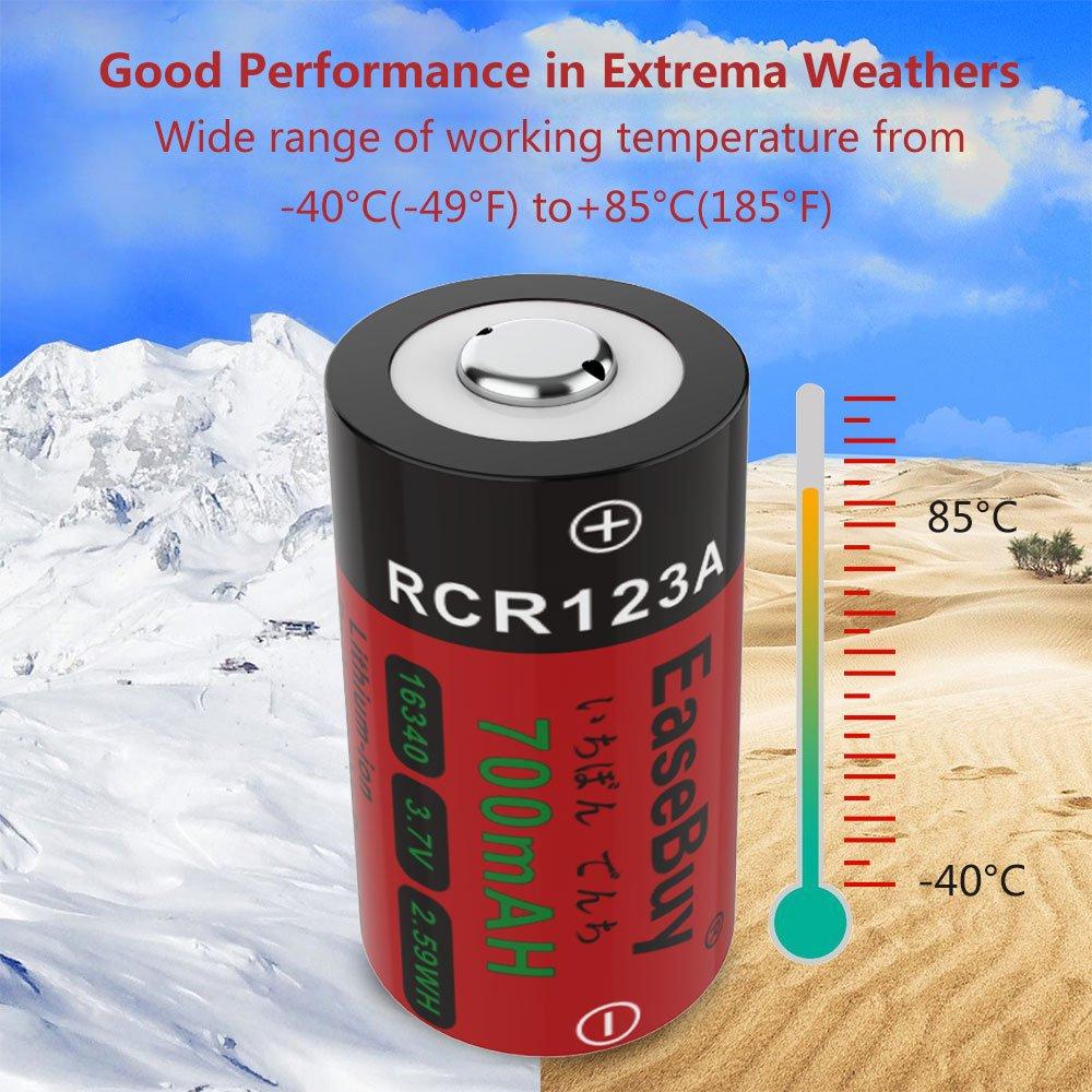 easebuy cr123 aリチウム充電式電池arloカメラ 8パック700 mah 16340