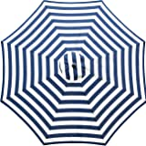 Sunnyglade 9ft Patio Umbrella Replacement Canopy Market Umbrella Top Outdoor Umbrella Canopy with 8 Ribs (Blue and White…