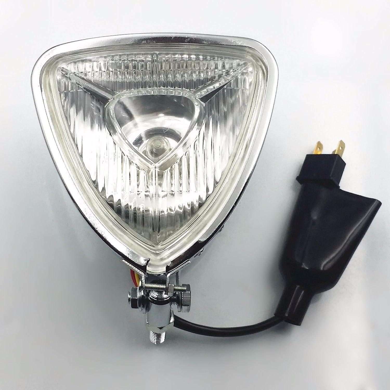 Triangle Motorcycle Headlight Head Light Lamp for Harley Honda Kawasaki Suzuki Yamaha Cafe Racer Bobber Chopper Vintage Bike Chrome//Amber