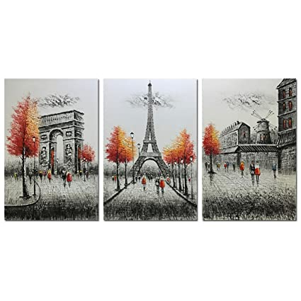 Metuu Modern Canvas Paintings Paris Eiffel Tower Paintings Modern Home Decor Wall Art Painting Wall Decoration Ready To Hang Ready To Hang 24x36