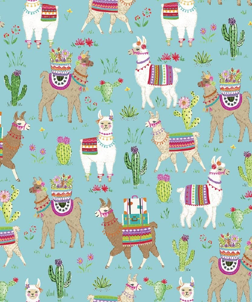 """Dolly Llama Western Themed Gift Wrap Flat Sheet - 24"""" x 6'"""
