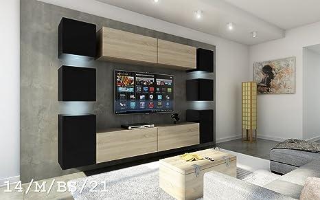 FUTURE 14 Moderno Conjunto De Muebles De Salón, Exclusivo Centro De Entretenimiento, Mueble TV, Gran Variedad De Colores (Iluminación RGB LED ...