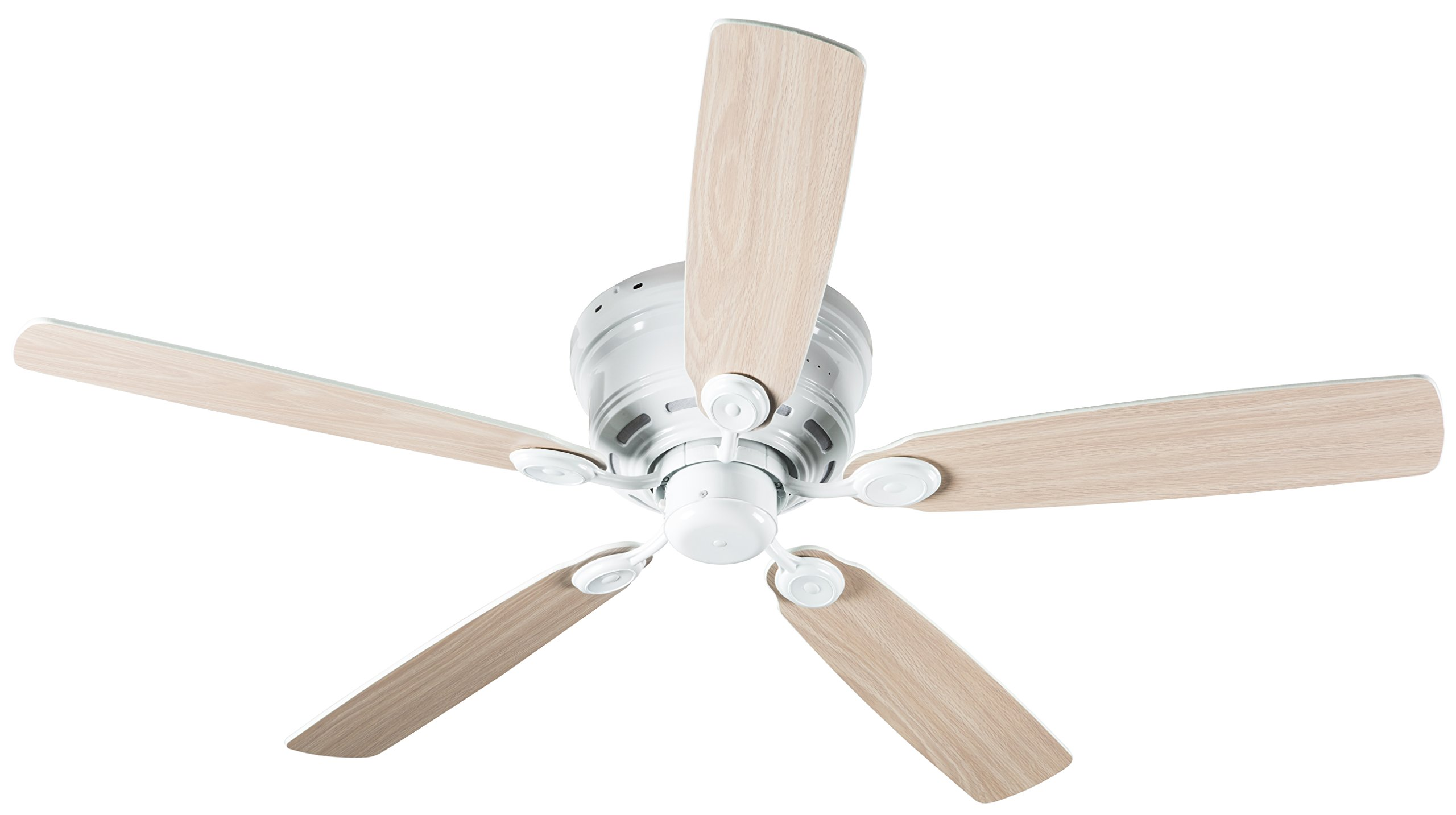 Hyperikon Remote Control Ceiling Fan, 52-Inch Light Wood White Ceiling Fan - White Fixture with Five Reversible Blades - Light Fixture Not Included