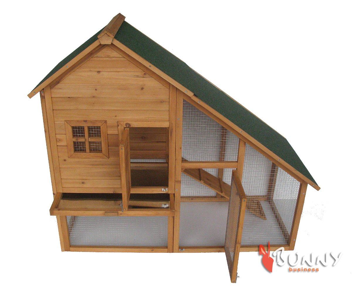 BUNNY BUSINESS Mini Lodge Double Decker Rabbit/ Guinea Pig Hutch and Run
