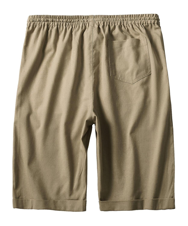 IWOLLENCE Mens Linen Casual Classic Fit Short Summer Beach Shorts