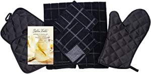 Home Collection 8 Piece Kitchen Towel Set with Dish Cloths, Pot Holders, and Oven Mitt Bundle (Black)