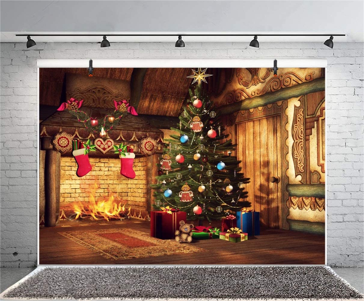Christmas Theme Backdrop Vinyl 10x7ft Indoor Lighting Xmas Tree Gifts White Sofa Fireplace Mirror Panel Wall Bright Window Background Xmas Party Banner Child Kids Baby Portrait Shoot