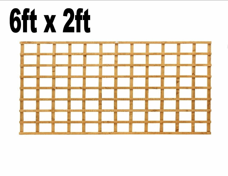 6ft x 2ft Garden Trellis Heavy Duty Treated Screen Square Pressure Treated Autumn Gold Innovo