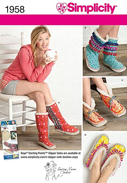 Amazon.com: Simplicity Misses Slippers Sewing Pattern 1958 , Size A ...