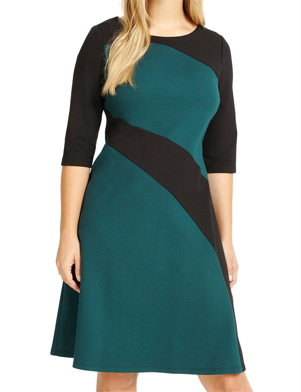 Chicwe Women's Plus Size Stylish Contrast Ponte Dress - Knee Length Casual and Work Dress 2X