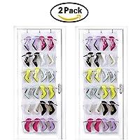 HIPPIH 2 Pack 24 Pockets Over The Door Shoe Organizer Transparent PVC Storage Bag