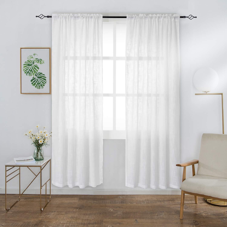 Tenda In Voile lino Look per finestre pura moderne Decorativo Porta Balcone Tessuto Morbido per camere da letto Due Pannelli(2 x 117 x 137cm(L×A), Bianco) BGment Hometex