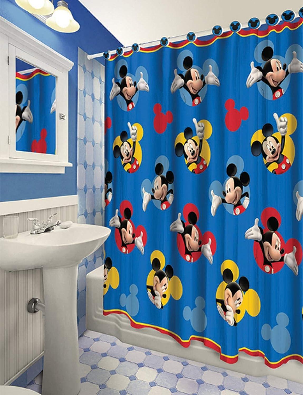 All New Fabric Shower Curtain Set Disney 12 Matching Hooks (Mickey)