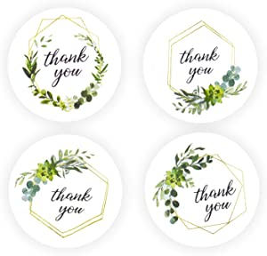 2 inch Greenery Frames Thank You Stickers Roll Green Round Boho Labels for Wedding Food Packaging 500PCS