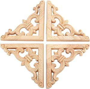 4pcs 8x8cm European Style Wood Carved Corner Onlay Applique Unpainted Furniture Door Decor