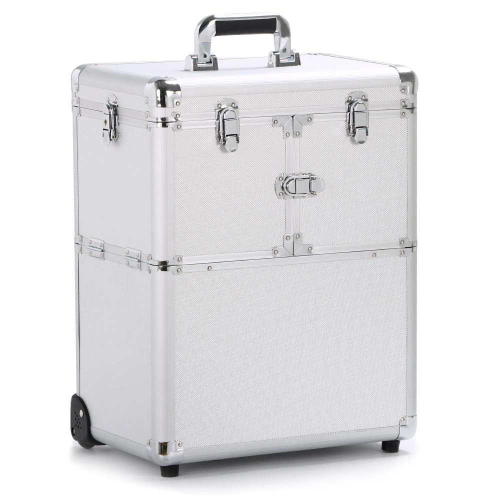 Yaheetech 19'' Professional Rolling Makeup Case Cosmetic Train Case Trolley Beauty Train Case Cosmetic Organizer w/Handle,1 well-designed mirror included,Silver