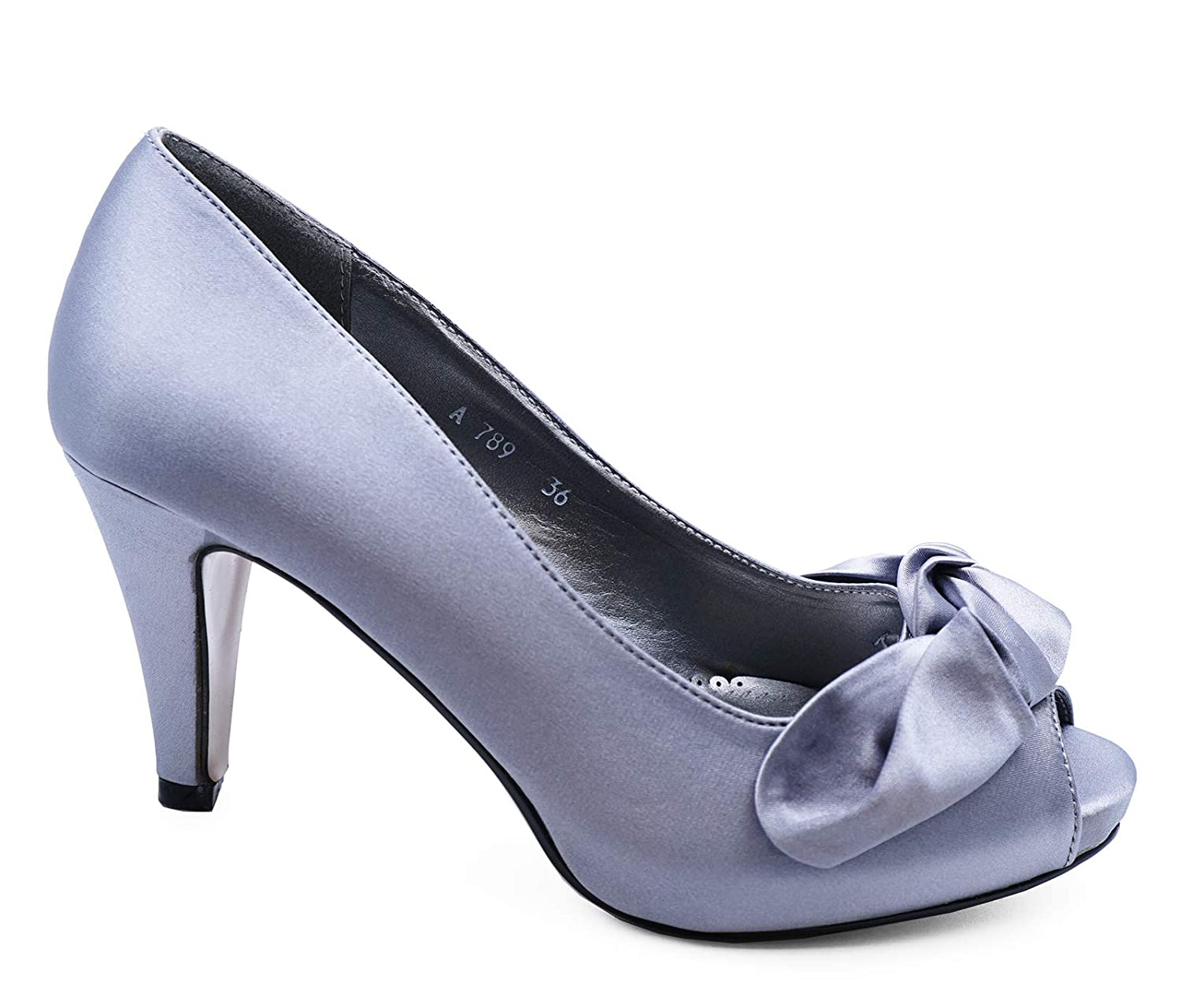 LADIES PURPLE SLIP-ON SATIN PEEP-TOE PARTY BOW EVENING PROM COURT SHOES SIZE 3-8