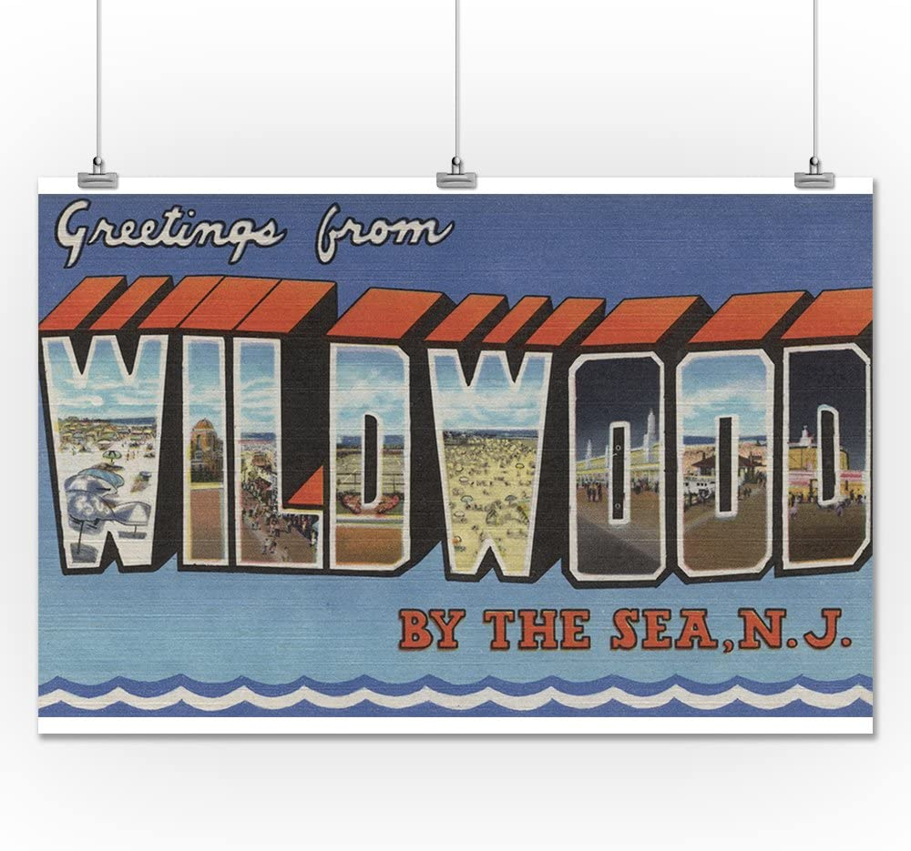 New Jersey 36x54 Giclee Gallery Print, Wall Decor Travel Poster Large Letter Scenes Wildwood-By-The-Sea