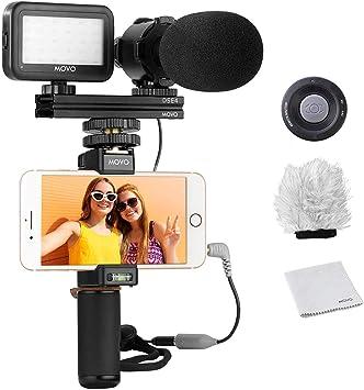 Kit de Vídeo para Smartphones V7 de Movo con Empuñadura, Micrófono Estéreo Profesional, Luz LED & Co: Amazon.es: Electrónica