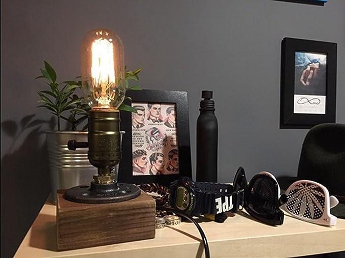 Updated ] rétro industrielle edison lampe de table en bois et métal