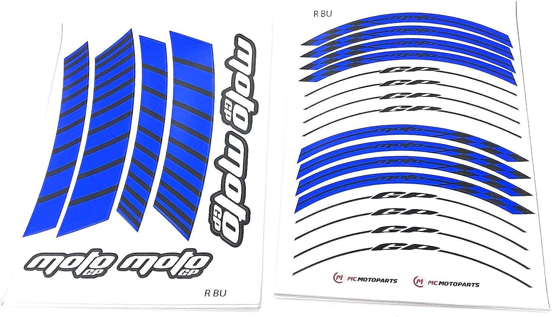 Racing Blue MC Motoparts Rim Stripes Wheel Decal Stickers 17 inch Rim Tape GP02 For Honda Kawasaki Yamaha MV Agusta