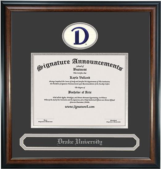 Signature Announcements Drake-University Undergraduate Professional//Doctor Sculpted Foil Seal /& Name Graduation Diploma Frame 16 x 16 Matte Mahogany