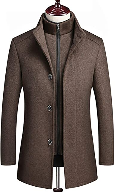 New Winter Woolen Coat Men Cotton Liner Wool Blend Jacket Mens Warm  Outerwear Grey/Wine Red at Amazon Men's Clothing store