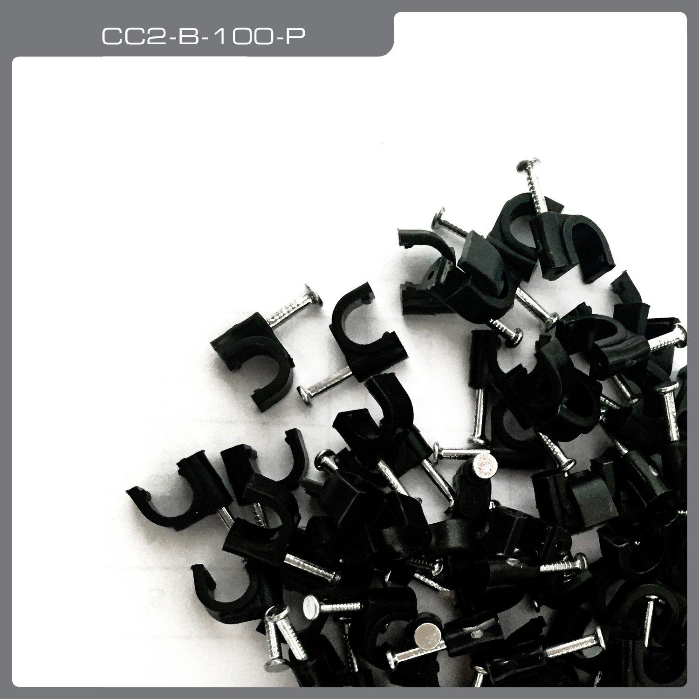 QualGear CC2-B-100-P Premium Quality RG6 Cable Clips 100 Pack