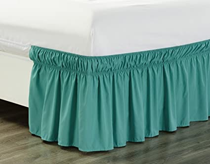 Green Bed Skirt Queen.Amazon Com Wrap Around 18 Inch Fall Turquoise Blue Ruffled