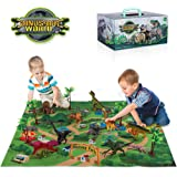 TEMI Dinosaur Toy Figure w/ Activity Play Mat & Trees, Educational Realistic Dinosaur Playset to Create a Dino World…