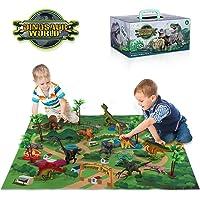 TEMI Dinosaur Toy Figure w/ Activity Play Mat & Trees, Educational Realistic Dinosaur Playset to Create a Dino World…