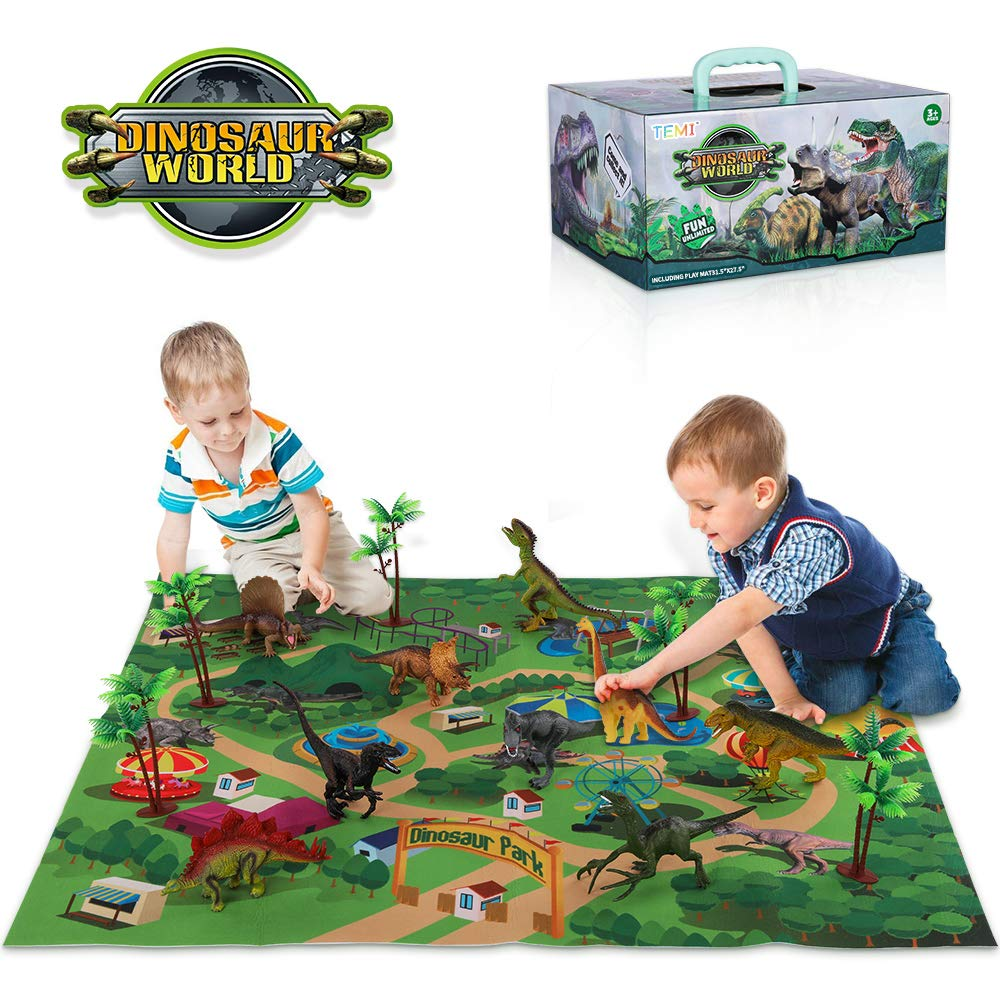 TEMI Dinosaur Toy Figure w/ Activity Play Mat & Trees, Educational Realistic Dinosaur Playset to Create a Dino World Including T-Rex, Triceratops, Velociraptor, Perfect Gifts for Kids, Boys & Girls