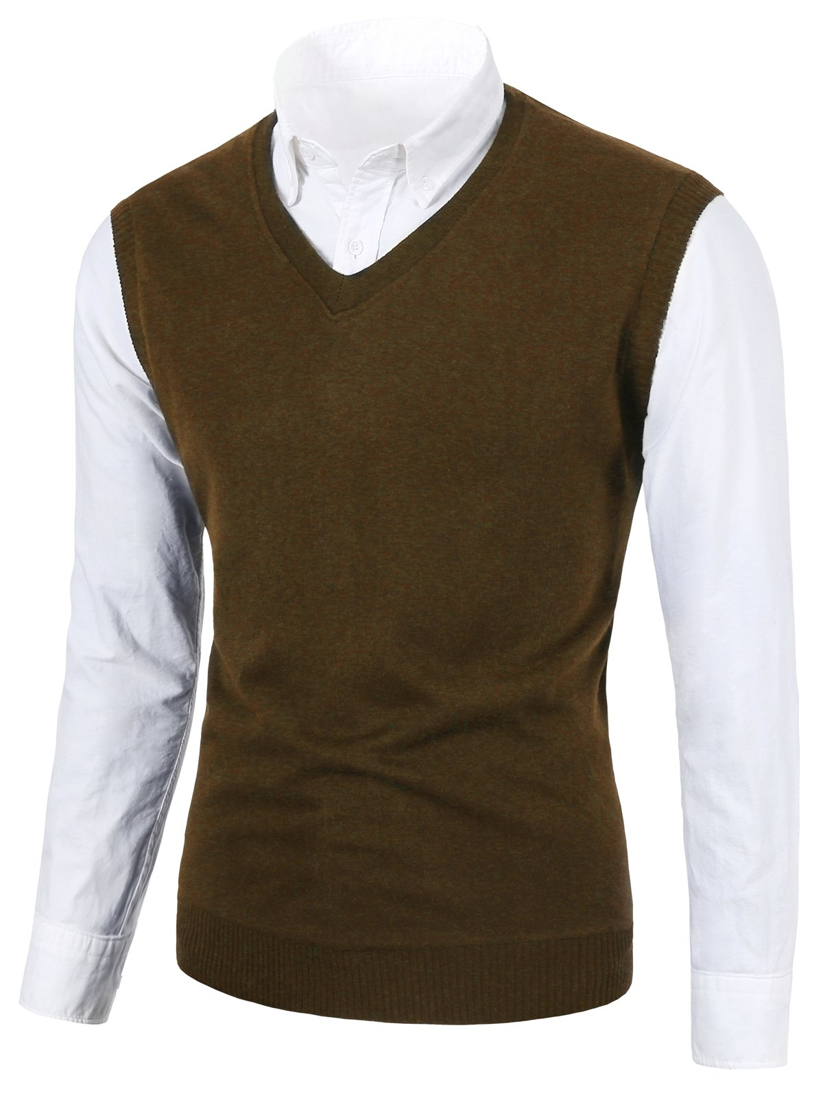MIEDEON Mens Various Color Casual Slim Fit Knit Vest Sweater Coffee XL