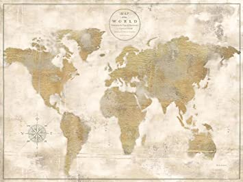 Amazon rustic world map cream no words by marie elaine cusson rustic world map cream no words by marie elaine cusson 29quot x 38quot gumiabroncs Gallery