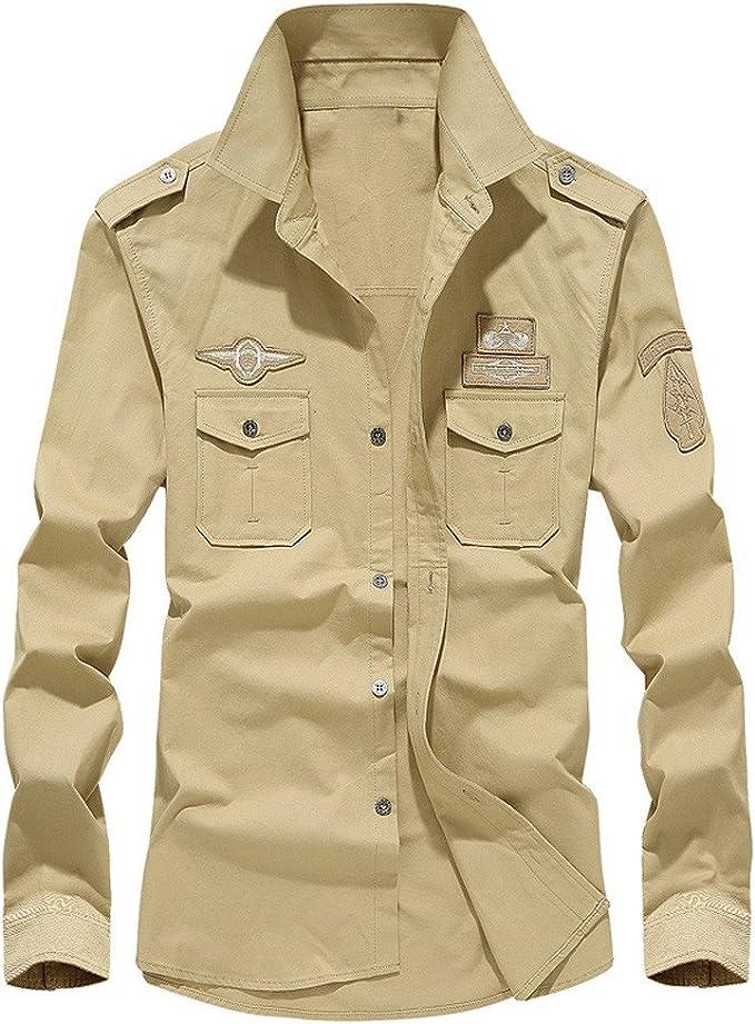 ALIKEEY Men S Retro Tooling Solapa Cotton Casual Camisa De Manga Larga para Hombres Otoño Carga Militar Botón Top Blusa Vestido De Slim