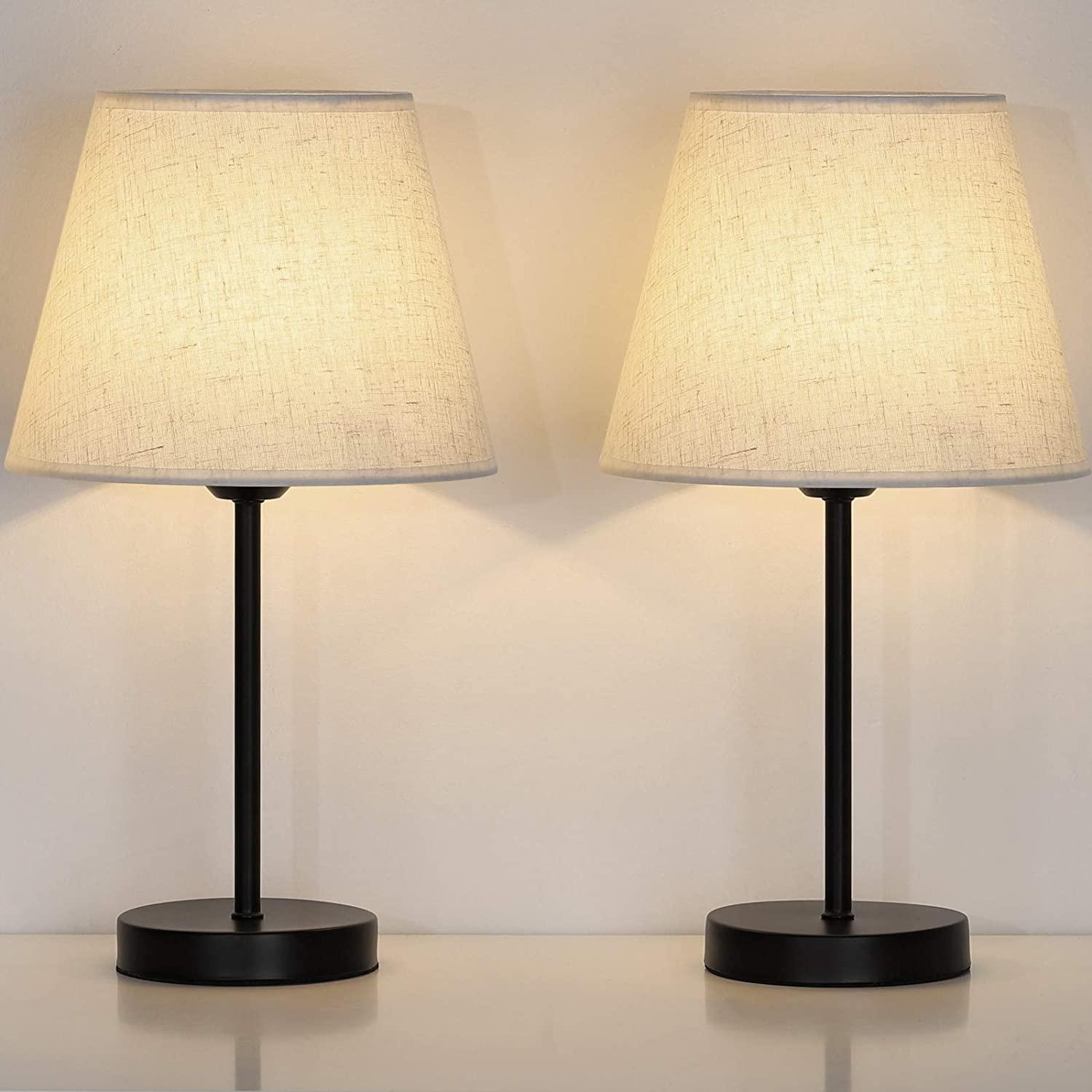 Bedside Nightstand Table Lamps Small Black Metal Lamp With Linen Lampshade For Bedroom Living Room College Dorm Office Set Of 2 Home Improvement