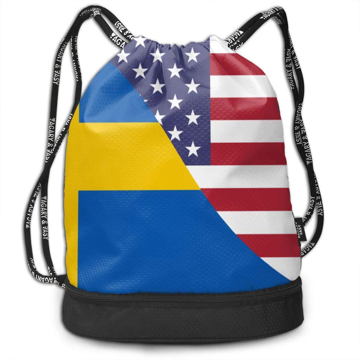 Swedish USA Friendship Flag Drawstring Bag Multifunctional String Backpack Custom Cinch Backpack Sport Gym Sack