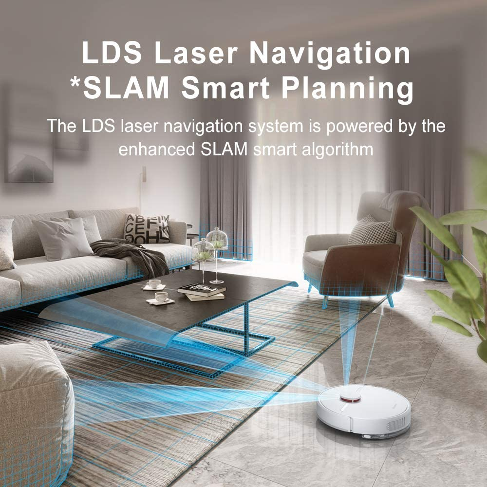 Carpet DreameTech D9 Robotic Vacuum and Mop Cleaner Hard Floor SLAM Smart Planning for Pet Hair LDS Laser Navigation Robot Vacuum Sweep and Mop 2-in-1 3000Pa Strong Suction Power 150min Runtime