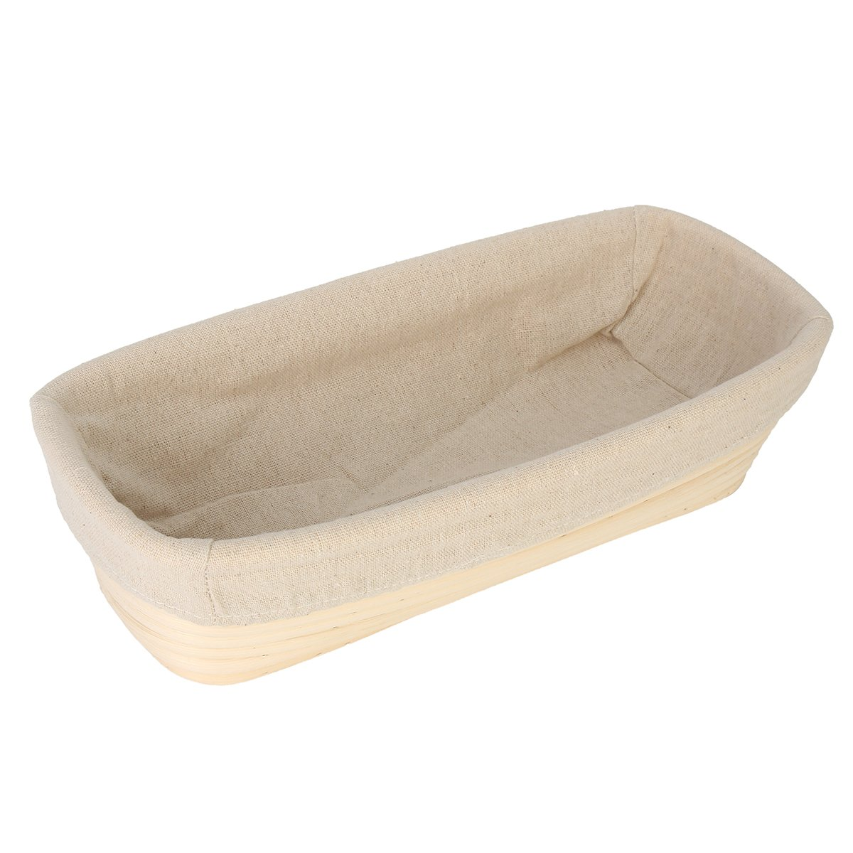 BESTOMZ Bread Proofing Basket with Liner Cloth Brotform Banneton Dough Bread Rising Basket 12 Inch Rectangle